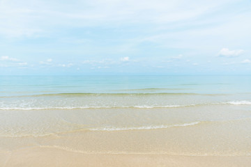 Wall Mural - Exotic beach with gentle wave and clear on beach with blue sky