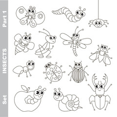 Small insects set in vector.