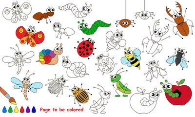 Set of funny insects cartoon. Page to be colored.