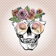 Vector portrait of human skull wearing the floral crown and sunglasses. Isolated on white polka dots.