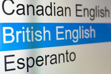 イギリスの英語 言語の選択画面