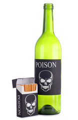 Pack of cigarettes and a bottle of wine
