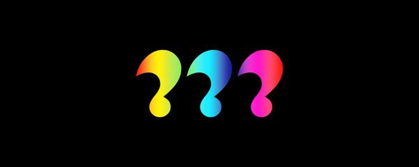 Question Mark Rainbow Colours On Black