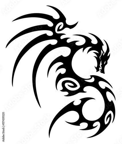 184f99c8aa9f9 vector illustration, tribal dragon tattoo design, black and white graphics.