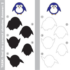 Cute Penguin. Find true correct shadow.
