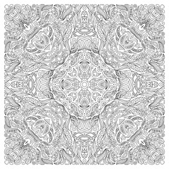 Coloring book page for adult, square form. Vector abstract pattern with floral ornament.