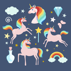 Magic fairy unicorn elements collection, isolated vector objects, flat design
