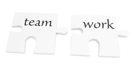 Cooperation: Teamwork Puzzle Pieces, 3d illustration