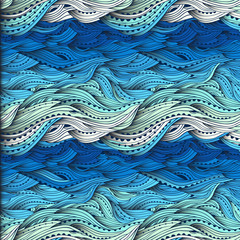 Abstract water pattern, hand-drawn waves vector, blue wave background, sea pattern, Eps 10
