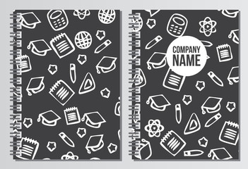 Notebook cover. Back to school background. Branding template wit