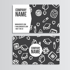 Business card with back to school pattern. Back to school brandi