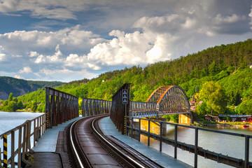 Single track railway bridge over the Vltava river