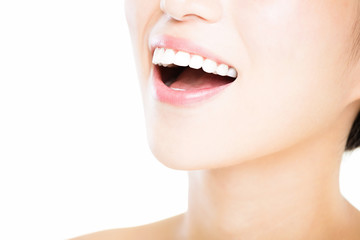 closeup young woman with great healthy white teeth