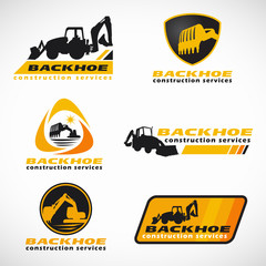 Yellow and black Backhoe construction service logo vector set design