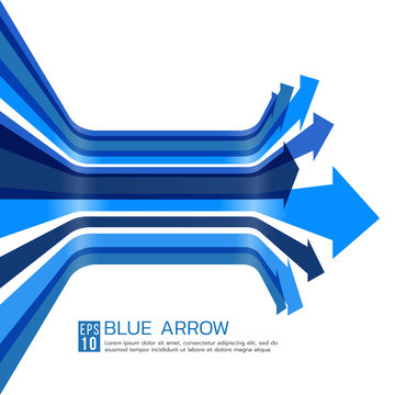 Blue arrow line perspective curve vector art design