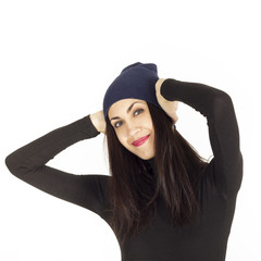 Young woman with warm hat on her hat