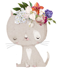 cute cat with floral wreath