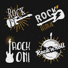 Set of rock themed logos, icons, badges, labels, signs with design elements: electric guitar, lighting, sunburst, vinyl record. Rock on, rock it!