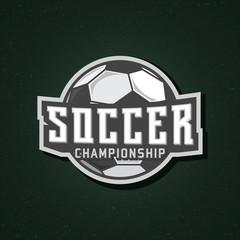 Soccer logo, soccer stamp, soccer championship sticker, vector