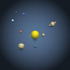 Solar system - 3d Planets on orbits