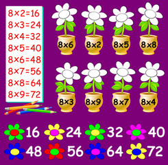 Exercise for children with multiplication by eight - need to paint the flowers in relevant color. Developing skills for counting. Vector image.