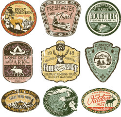 Grunge vintage mountain badges, vector badge and patches collection for t-shirt print, embroidery, sticker