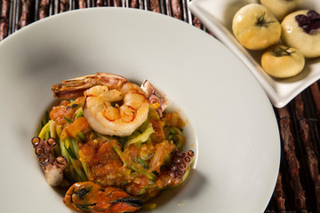 dish of linguine with seafood. Typical Sicilian cuisine.