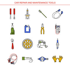 Car Repair and Maintenance Tools. Flat line icons set. Auto mechanic tools. Isolated background.