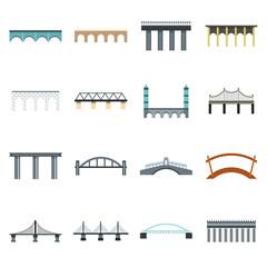 Flat bridge icons set. Universal bridge icons to use for web and mobile UI, set of basic bridge elements isolated vector illustration