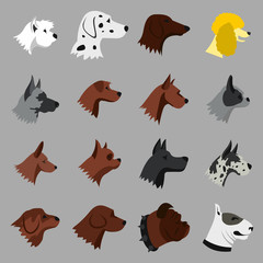 Flat dog icons set. Universal dog icons to use for web and mobile UI, set of basic dog elements isolated vector illustration