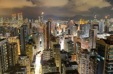 Hong Kong Kowloon Skyline at night from Tsim Sha Tsui on Kowloon.