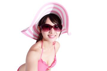 beauty woman wear bikini happily