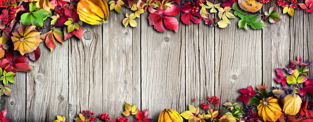 Thanksgiving Banner - Colorful Autumnal Leaves On Vintage Wood