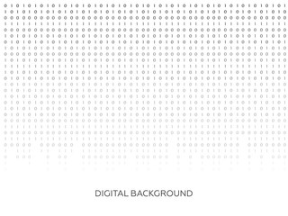 Binary code black and white background with digits