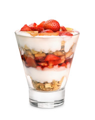 Glass of fruit and yogurt parfait