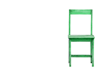 green wood chair isolated on a white background