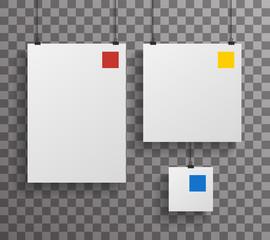 A4 Square Paper Big Little Realistic Poster Icon Set Template Transperent Background Mock Up Design Vector Illustration