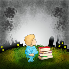 illustration little boy is sittting in the green field against toxic industrial background