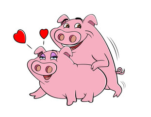 cartoon vector illustration of pigs mating