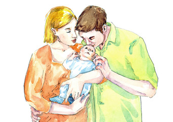 Hand painted Watercolor Illustration «A family»