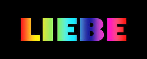 Word Liebe with colorful letters