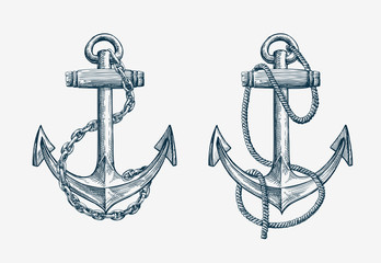 Vector hand drawn nautical anchor. Vintage sketch element ship, travel