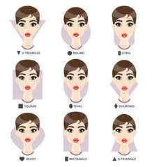 Set of different woman's face shapes. Nine female faces form