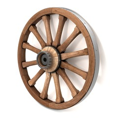 Wheel of the cart. 3d illustration