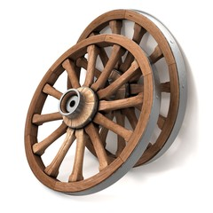 The wheels of the cart. 3d illustration