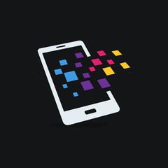 Mobile phone vector logo template concept illustration. Smartphone creative sign. Modern technology. Mobile Design element.