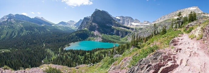 Grinnell Lake Panoramic - Glacier National Park Wall mural