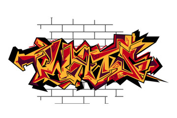 Street art of graffiti. Urban contemporary culture. Abstract color creative drawing.