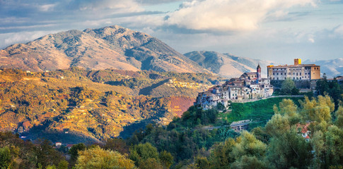 Pictorial Italian countryside and medieval village San vito romano
