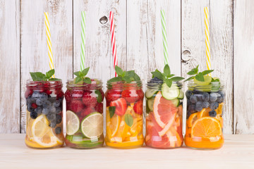 Refreshing water  with fruits and mint